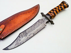 "Custom Handmade Bowie Hunting Knife 15"" Rosewood Handle"