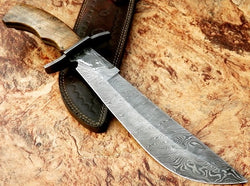 custom handmade bowie knife damascus