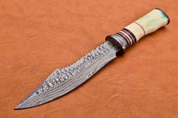 "Handmade Bowie Hunting Knife Damascus Steel 14"" - TurtleBlades"