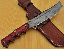 Fixed Blade Tracker Knife Custom Handmade Damascus Steel - Turtle Blades