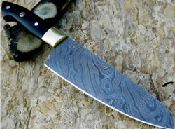 Handmade Santuko Chef Knife Damascus Steel Buffalo Horn Handle - Turtle Blades