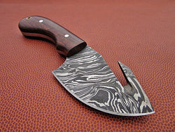"Beautiful Damascus Steel Hunting Knife 8.0"" Overall Length - Turtle Blades"