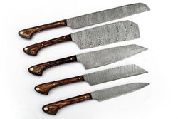 5 x Custom Handmade Kitchen Knives Set Damascus Steel