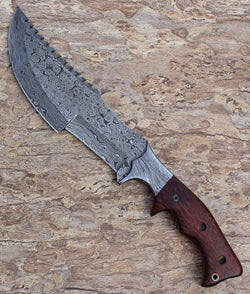 "Custom Made Tracker Knife Damascus Steel 13.0"" - Turtle Blades"