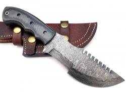 Fixed Blade Custom Tracker knife Handmade Damascus Steel Outdoor Knife - Turtle Blades