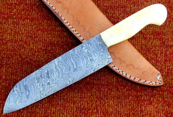 "Chef Knife Made with Damascus Steel and Camel Bone Handle 12.5"" - Turtle Blades"