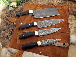 Set of 4 Kitchen Knives outdoor kit with Leather Roll - Turtle Blades