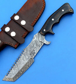 Custom Hand Forged Tracker Knife Made with Beautiful Damascus Steel