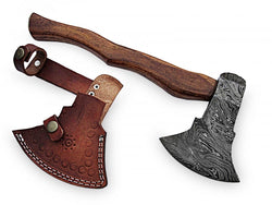 "Damascus Steel Axe Hand Forged Strong Rose wood Handle 16.0"" - Turtle Blades"