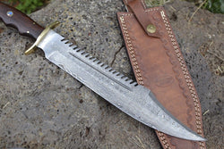"Custom Handmade Damascus Knife 14"" Damascus Steel Hunting Bowie Knife"