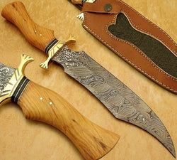 Custom Handmade Bowie Hunting Knife 13.5""