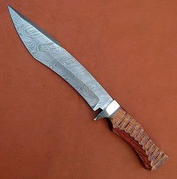 Handmade Damascus Steel Bowie Hunting Knife 15""