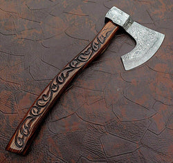 damascus steel custom handmade hunting axe/tomahawk