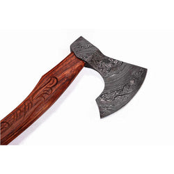 Damascus Steel Axe wooden handle with leather sheath Cutting Edge 5""