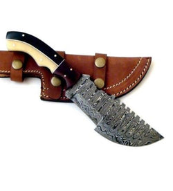Fixed Blade Tracker knife Handmade Damascus Steel Outdoor Knife - Turtle Blades