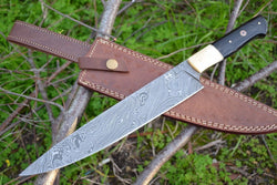 "Custom Made Chef Knife 13.0"" Long Damascus Steel Blade and Buffalo Horn Handle - Turtle Blades"