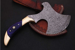 "Damascus Steel Mini Hatchet Axe Tomahawk 10"" Inches Mini Axe - Turtle Blades"