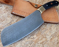 "Custom Handmade Chef Cleaver Knife 13.0"" Damascus Steel Blade - Turtle Blades"