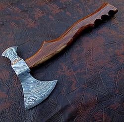 "Axe Damascus Steel Rosewood Handle 4.25"" x 6.0"" Head - Turtle Blades"