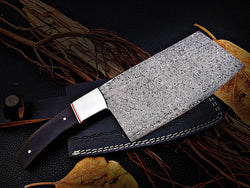 Custom Handmade Damascus Steel Chef Meat Cleaver Buffalo Horn Handle - Turtle Blades