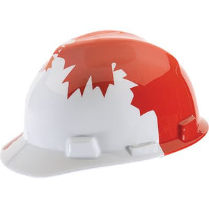 MSA Canadian Series V-Gard Protective Cap - White with Red Maple Leaf