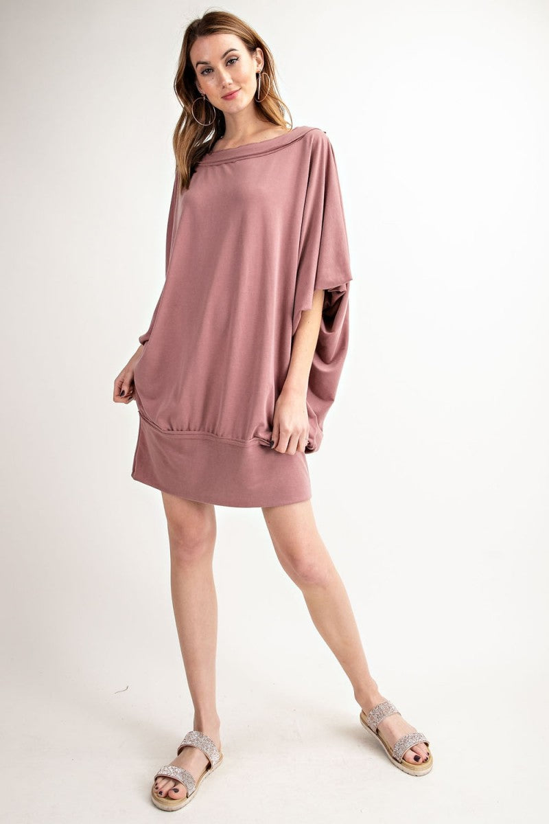 Easel Terry Knit Banded Dress Mauve