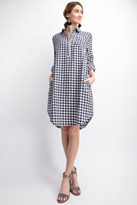 EASEL PLAID SHIRT BUTTON DOWN DRESS