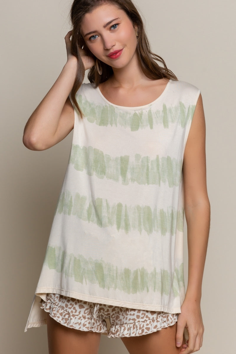 Stripe Down Hand Dipped Tee