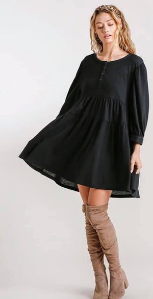Waffle Knit Little Black Dress