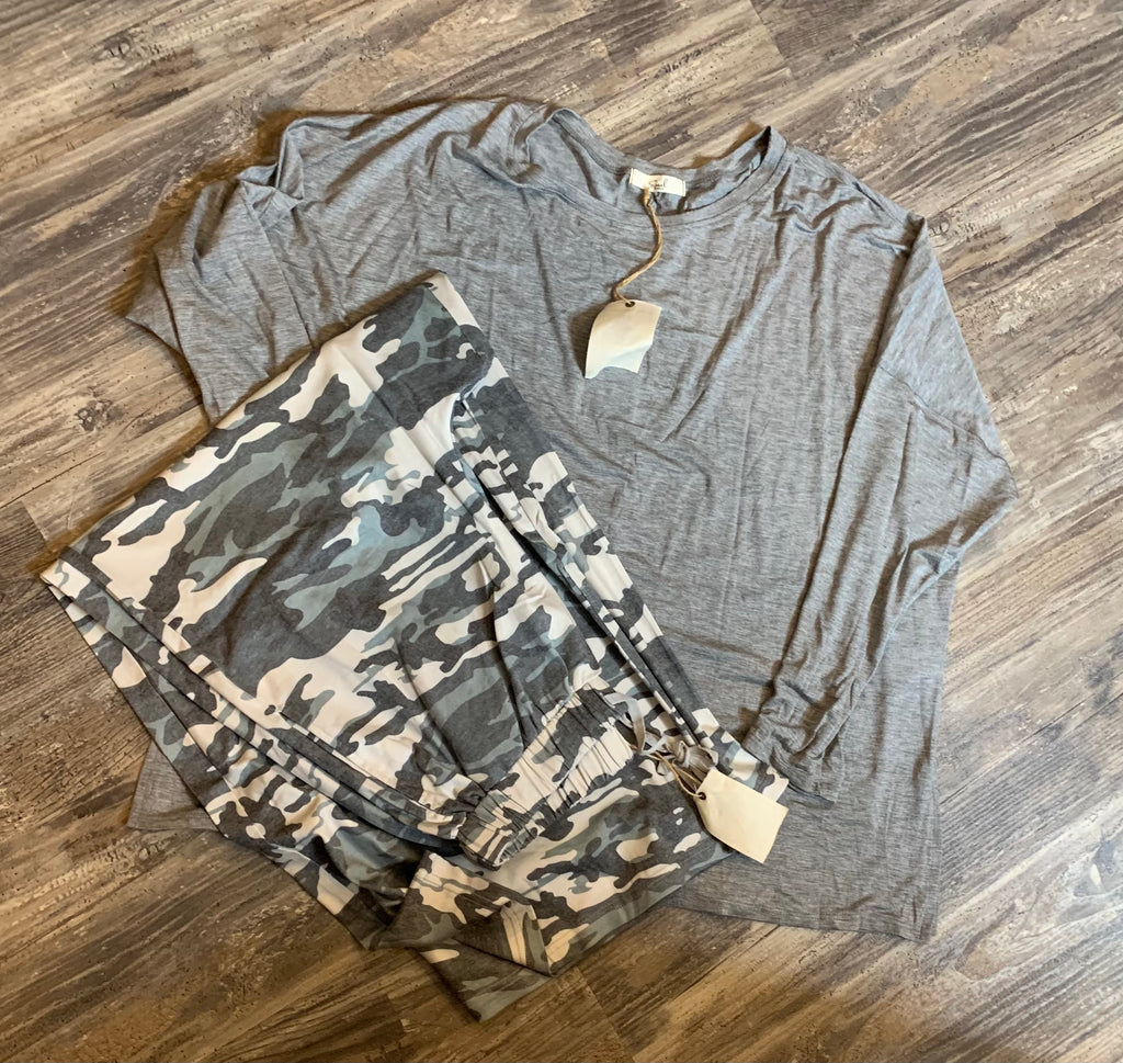 Camo Wide Leg Lounge Set