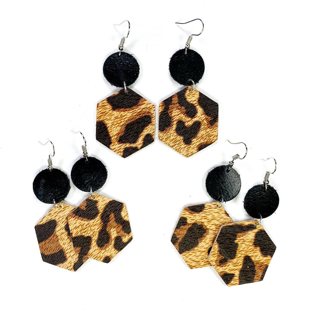 Black Dot Leopard Earrings