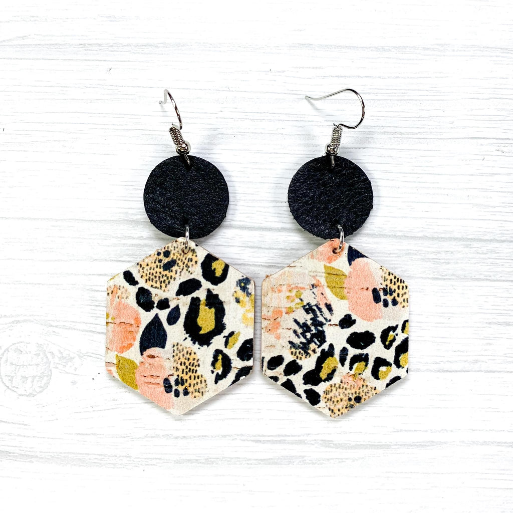 Pansies and Leopard Earrings