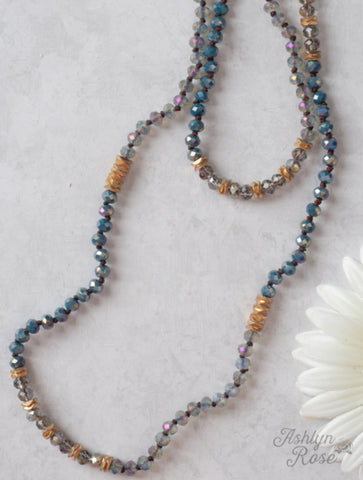 Knotted Crystal Beaded Necklace Blue, Grey, Gold