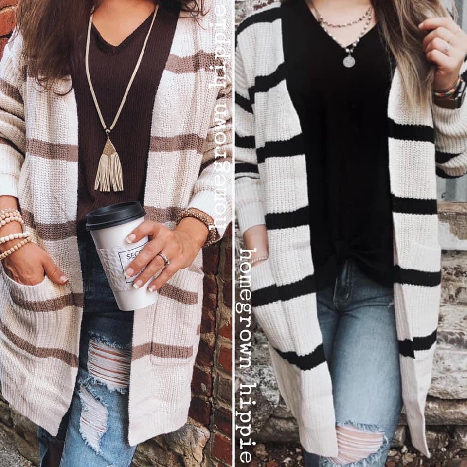 Coffee House Striped Cardi