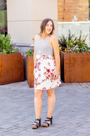 Floral Striped Tank Dress