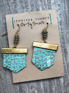 Turquoise Leather Metallic Earrings