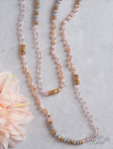 Knotted Crystal Beaded Necklace Pink, Grey, Gold