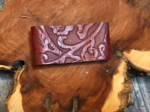 Red Leather Embossed Cuff Bracelet