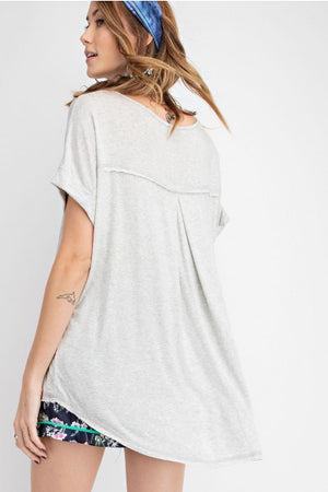 Easel Short Sleeve Hi Low Hem Knit Tunic