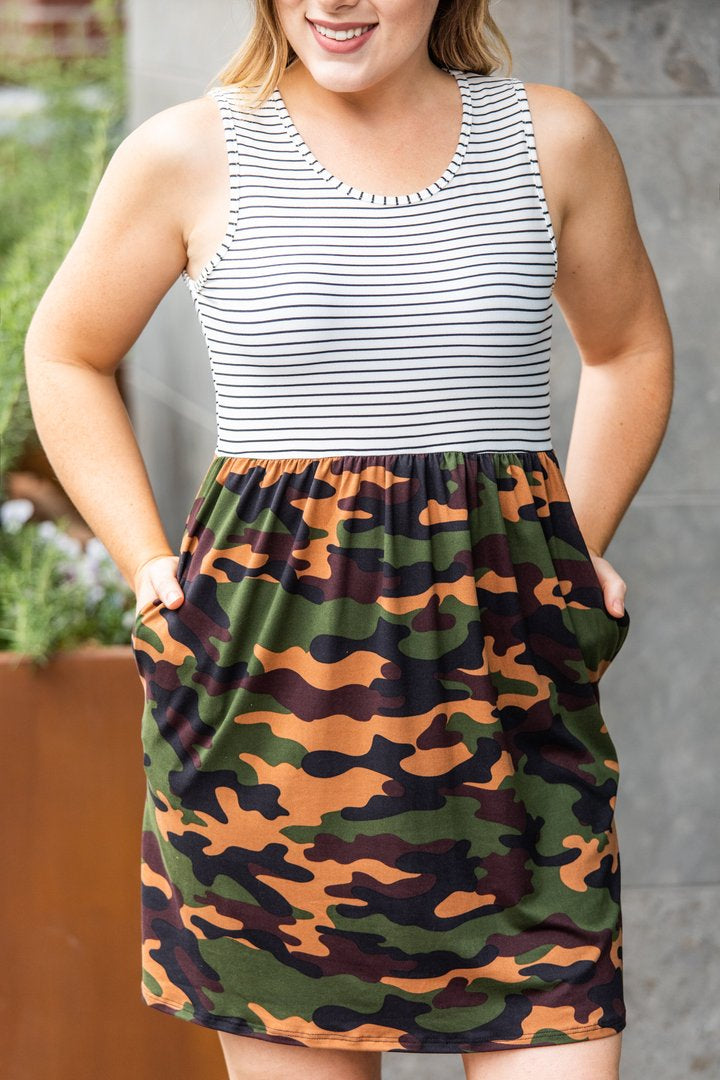 Camo Striped Tank Dress