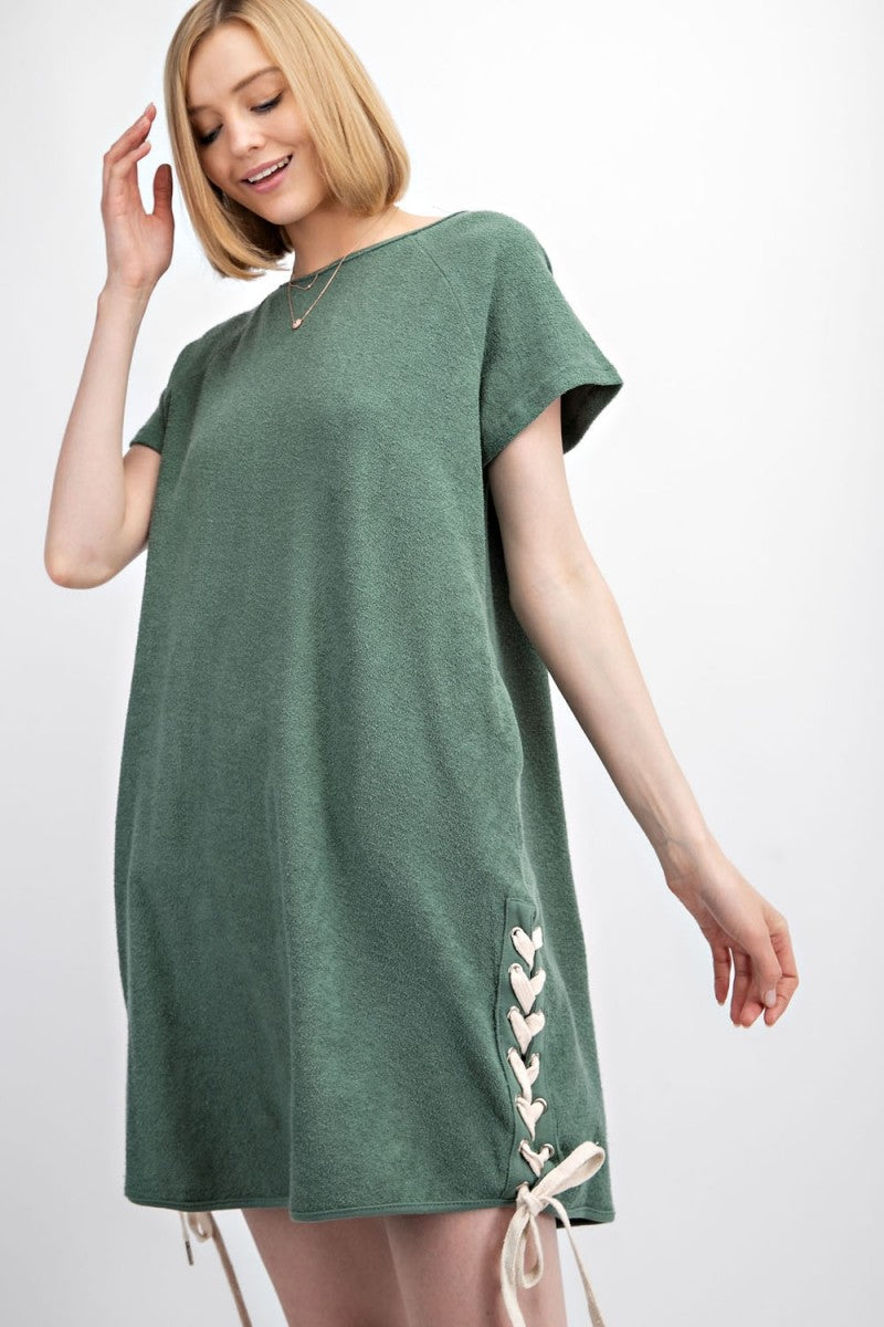 EASEL SHORT SLEEVES TERRY KNIT UPSIDE DOWN SIDE LACED UP TUNIC DRESS