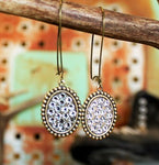 Pink Panache Bronze and Clear Mini Oval Earrings