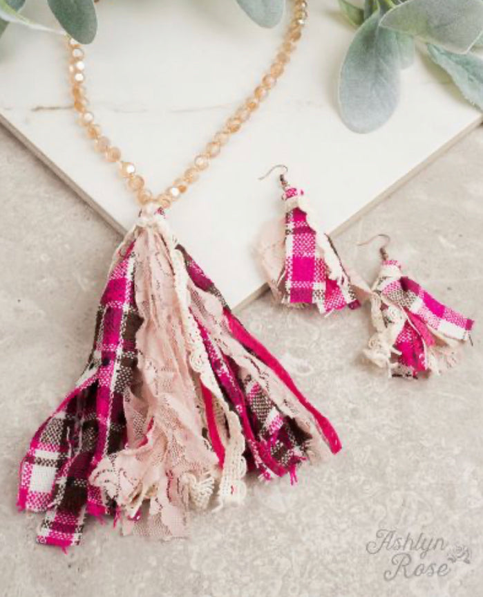 Pleasantly Plaid Pink Necklace