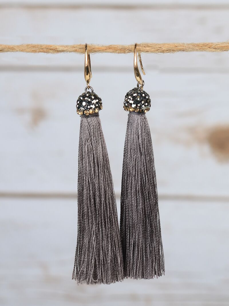 Alyssa's Grey Tassel Earrings