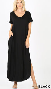 V Neck Maxi Black S-3XL