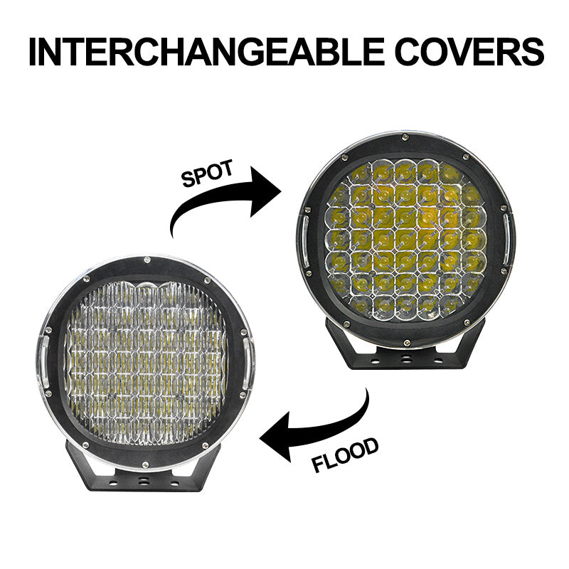 9 inch - 225W ROUND LED SPOT LIGHTS - BLACK - Factory Direct Oz