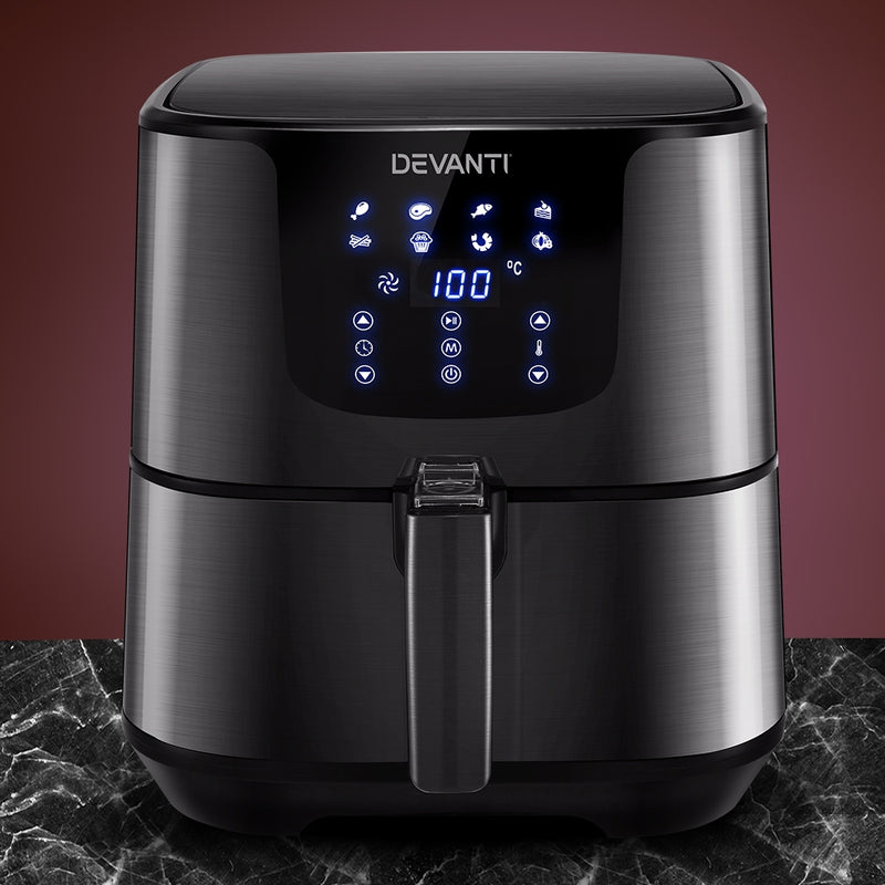 Devanti 7L LCD Stainless Steel Air Fryer - Factory Direct Oz