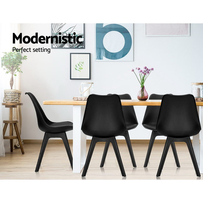 Artiss Set of 4 Retro Padded Dining Chair - Black - Factory Direct Oz