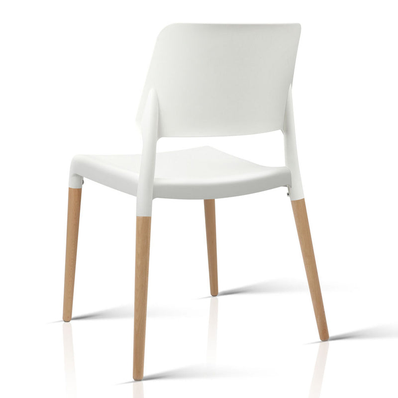 Artiss Set of 4 Wooden Stackable Dining Chairs - White - Factory Direct Oz