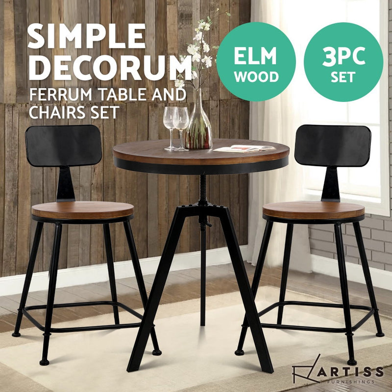 Artiss Vintage Retro Elm Wood Bar Table and Stool Set - Factory Direct Oz